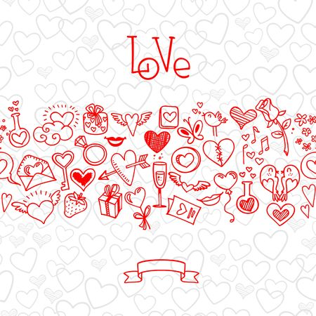 february 14th: sketchy love and hearts doodles, vector illustration Illustration