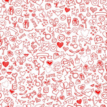 february 14th: love and hearts doodles, seamless background, vector Illustration