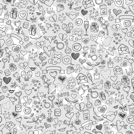 diamond ring: love and hearts doodles, seamless background, vector Illustration