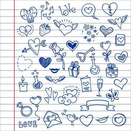 schetsmatige liefde en harten doodles, vector illustratie