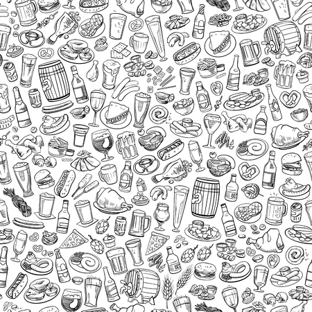 sketchy beer and snacks, seamless hand drawn illustration 矢量图片