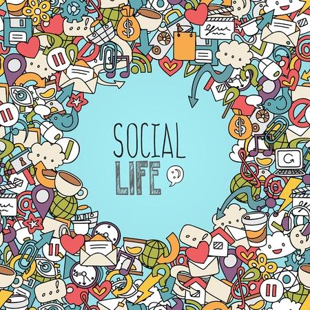 hand drawn social network symbols, vector background