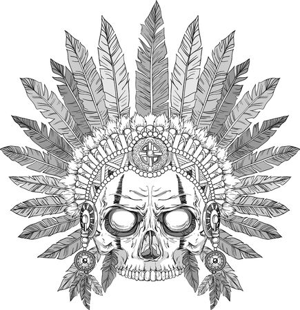 indian tribal headdress: skull of native american in chief headdress