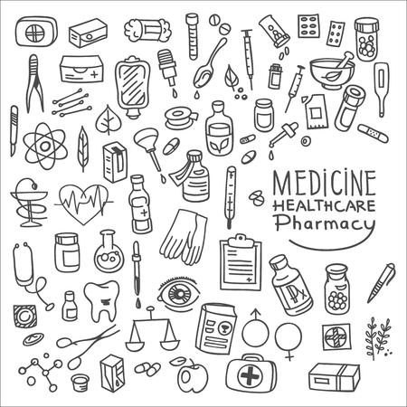 bottle of medicine: Health care and medicine doodle icon set, vector illustration Illustration