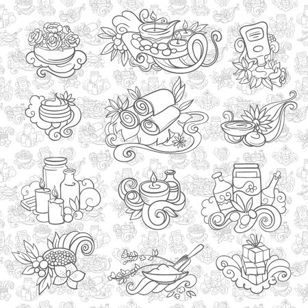 exotica: spa and self care doodles, vector illustration