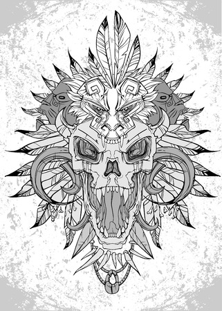 black art: vector screaming skull face with feathered headdress