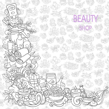 care: spa and self care doodles, vector background