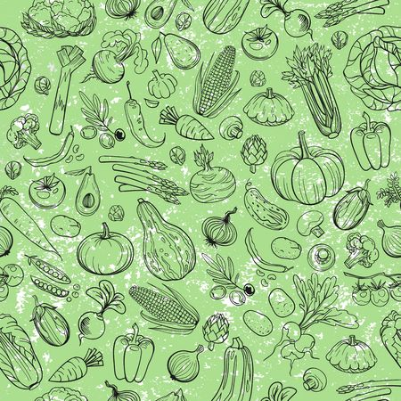 the sprouting: seamless background made of different hand drawn vegetables Illustration