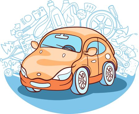 auto tekening met verschillende auto-gerelateerde symbolen op de achtergrond