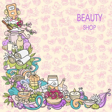 exotica: spa and self care doodles, vector background