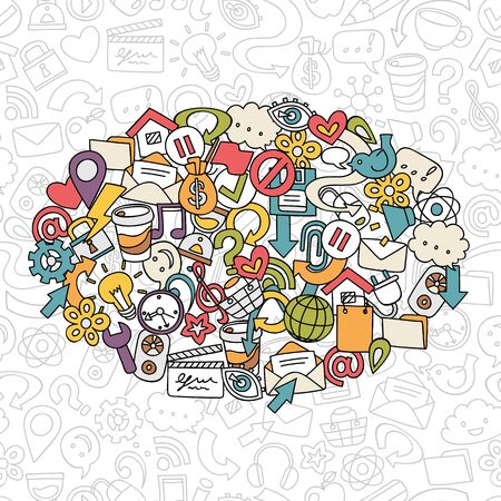shopping questions: hand drawn social network symbols, vector background