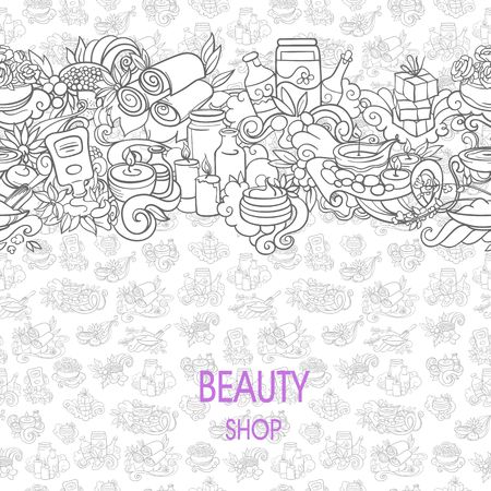 self care: spa and self care doodles, vector background