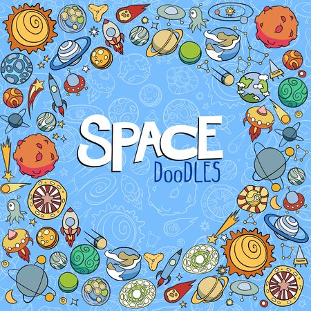 astronautics: doodles of planets ans space objects