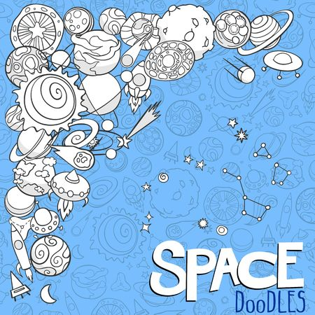 astronautics: doodles of planets and space objects