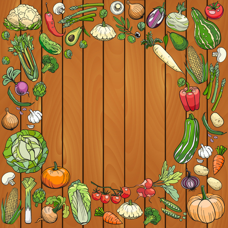 hand drawn vegetables on a wooden deck Illustration