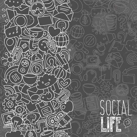 school computer: social network symbols, background