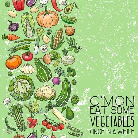 Hintergrund der verschiedenen Hand gezeichnet Gemüse gemacht