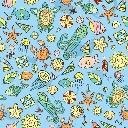 beach and sea doodles, seamless background Illustration
