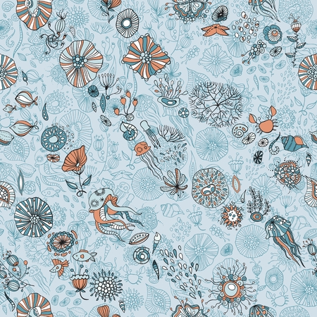 underwater life with abstract sea creatures Illustration