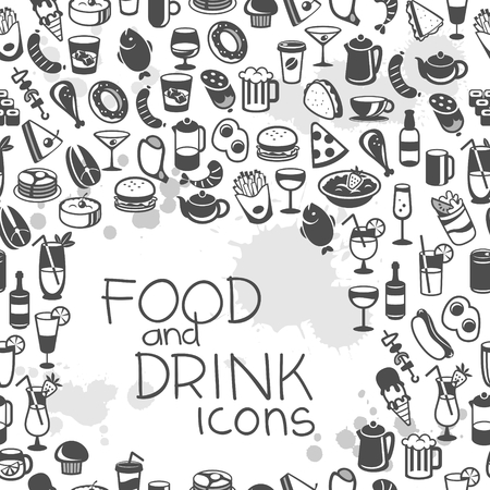 food and drinks: icons of different food and drinks