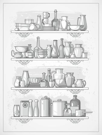 earthenware: different kitchen dinnerware on shelves, illustration