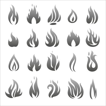 flat fire and flames icons, illustration