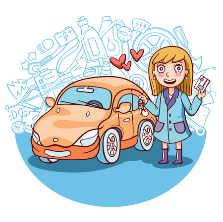 beginner: exited girl standing next to her first car
