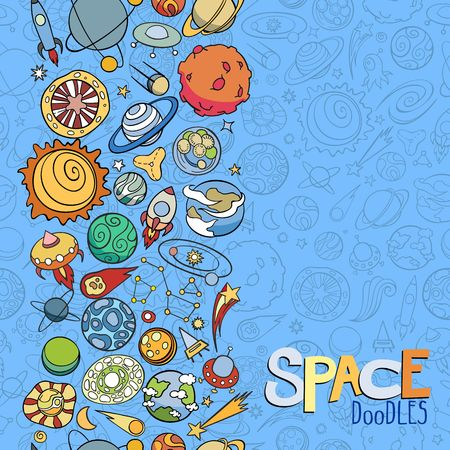 astronautics: hand drawn doodles of planets ans space objects