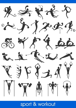 athletic: people symbols, representing different sport activities and athletics