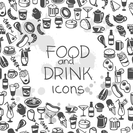 shrimp cocktail: icons of different food and drinks