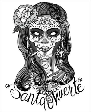 calavera: woman with sugar skull makeup, day of the dead