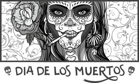Mujer con maquillaje del cráneo del azúcar, día de los muertos