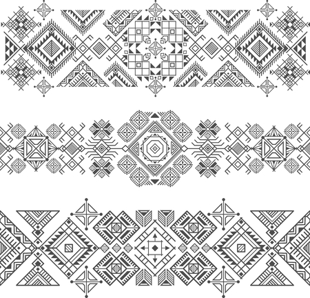 seamless ethnic borders with native american motifs