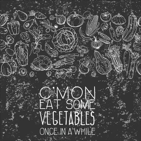 background made of different hand drawn vegetables Illustration
