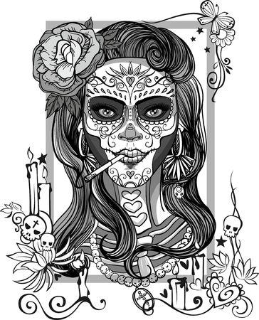 Mujer con maquillaje del cráneo del azúcar, día de los muertos Foto de archivo - 66585386