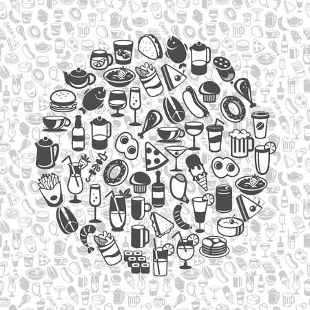 shrimp cocktail: icons of different food and drinks, vector