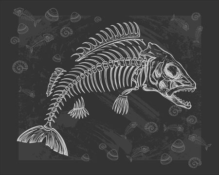 hand drawn fish skeleton sketch, vector illustration Illustration