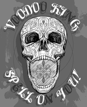 voodoo skull with opened jaw, vector illustration Illustration