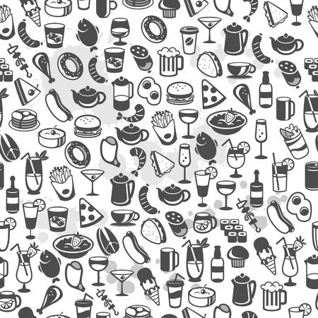 alimentos y bebidas: iconos de diferentes alimentos y bebidas, vector Vectores