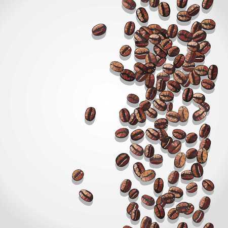 chicchi di caff?: sfondo caffè con chicchi di caffè, illustrazione vettoriale Vettoriali