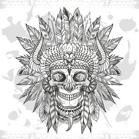 skull of native american in chief headdress