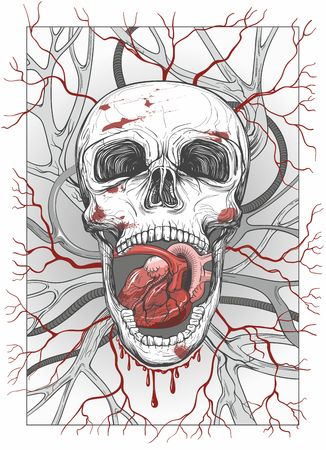 skull with opened jaw with human heart, vector illustration