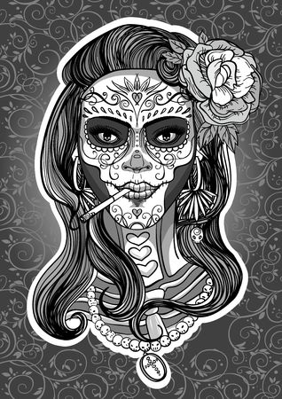 woman with sugar skull makeup, day of the dead