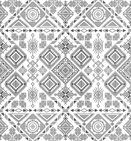 african americans: seamless ethnic pattern with native american motifs, vector