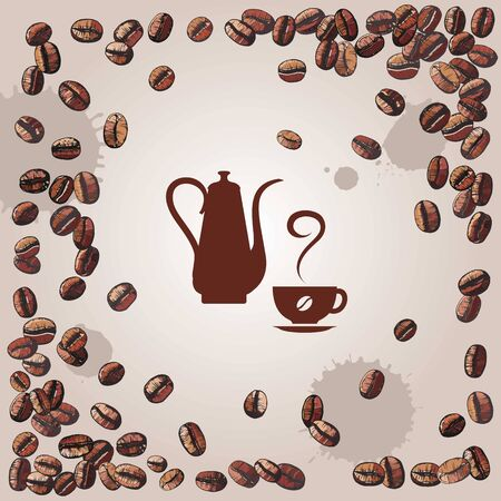 comfort food: coffee with coffee beans and kettle, vector illustration