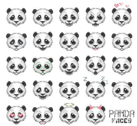 panda emoticon, panda face set, vector illustration Illustration