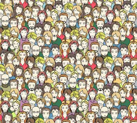 Different people faces in a crowd, seamless pattern