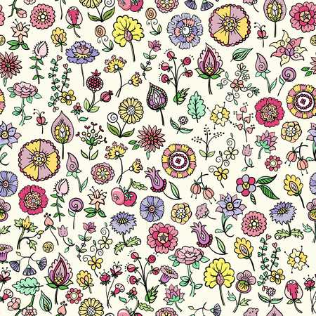 Hand drawn floral seamless background, vector illustration