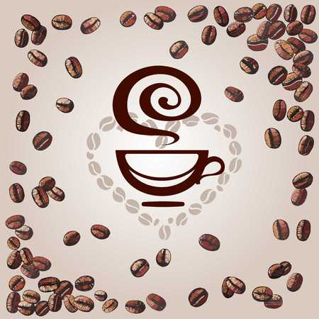 A background with coffee beans and cup, vector illustration