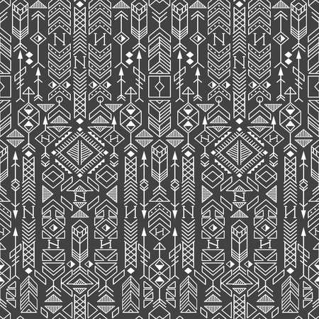 A seamless ethnic pattern with native American motifs, vector
